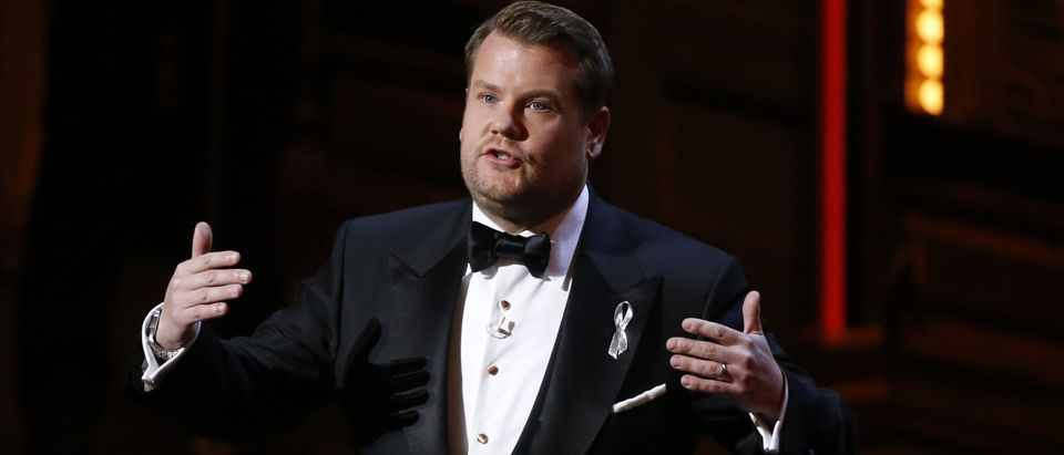 Show host James Corden speaks during the American Theatre Wing's 70th annual Tony Awards in New York