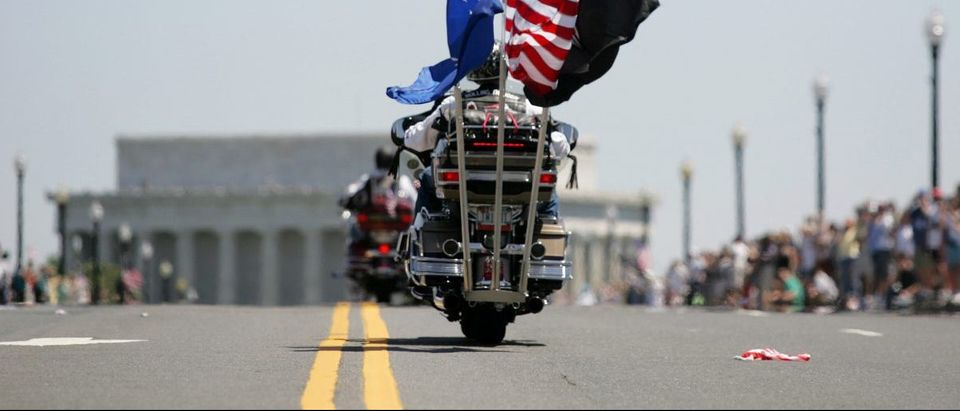 Participants in the motorcycle veterans group Rolling Thunder head into Washington