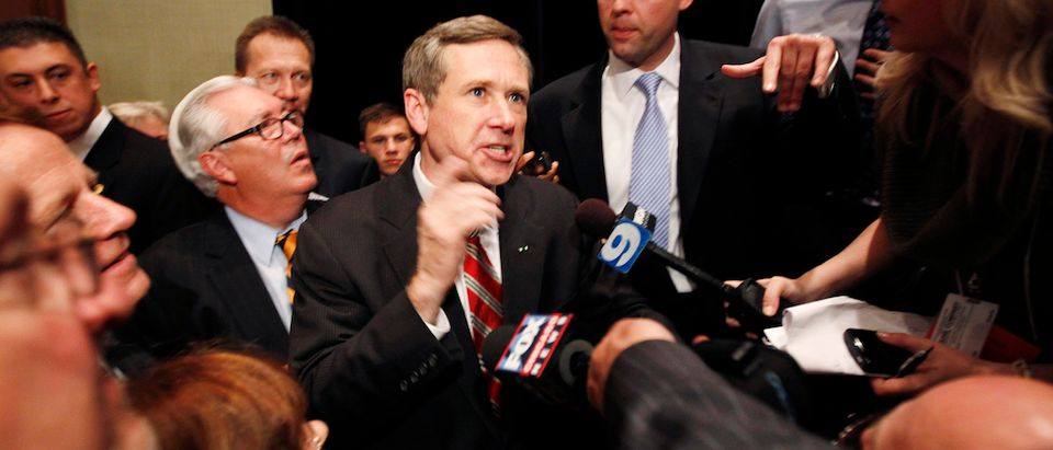 Republican U.S. Senate candidate Mark Kirk of Illinois speaks to the media after beating Democratic nominee Alexi Giannoulias, at an election night rally in Wheeling
