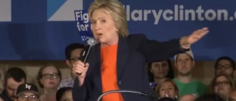Hillary Clinton talks to voters in El Centro, Calif. (Youtube screen grab)