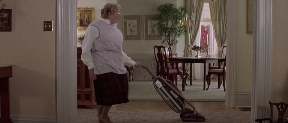 Robin Williams dances with a vacuum cleaner in 'Mrs. Doubtfire' (YouTube Screenshot/20th Century Fox)
