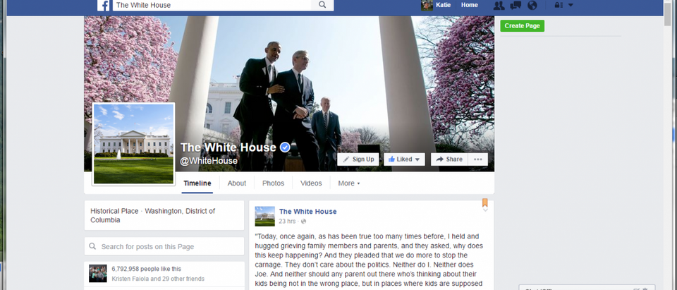 Screenshot: White House Facebook Page