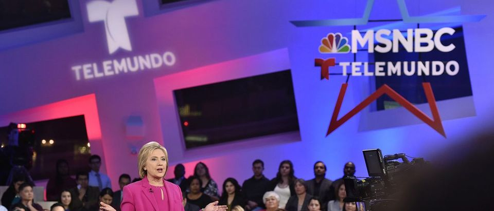 U.S. Democratic presidential candidate Hillary Clinton addresses the audience during a campaign town hall hosted by MSNBC and Telemundo in Las Vegas
