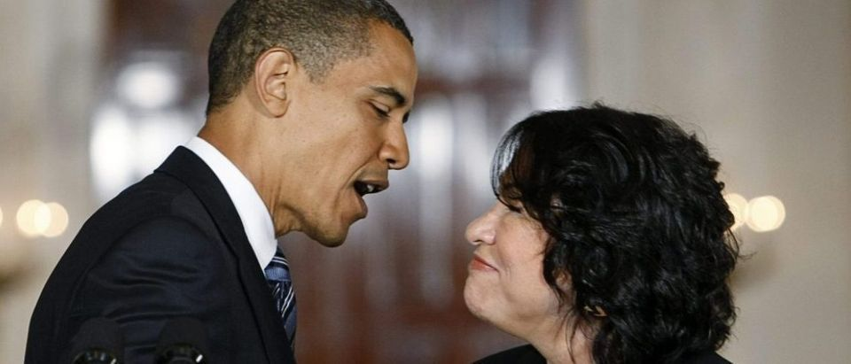 President Barack Obama talks with Judge Sotomayor after announcing her as his choice to replace retiring Supreme Court Justice at the White House