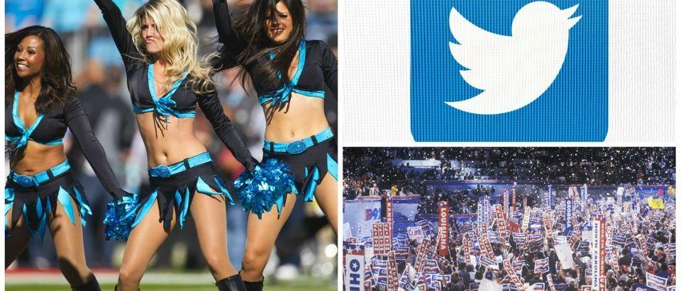 NFL Cheerleaders: Action Sports Photography / Shutterstock.com, DNC 2000: Joseph Sohm / Shutterstock.com, Twitter Bird: tanuha2001 / Shutterstock.com