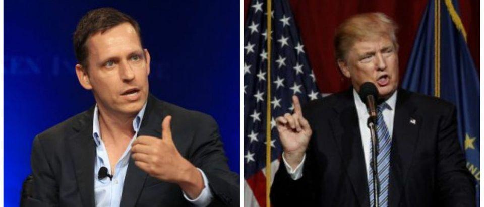 (Thiel: REUTERS/Fred Prouser, Trump: REUTERS/John Sommers II)