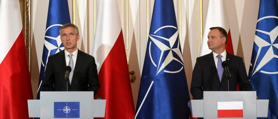 NATO Secretary-General Jens Stoltenberg and Poland's President Andrzej Duda speak during a news conference during their meeting at Belvedere Palace, a day ahead of the NATO Summit in Warsaw, Poland