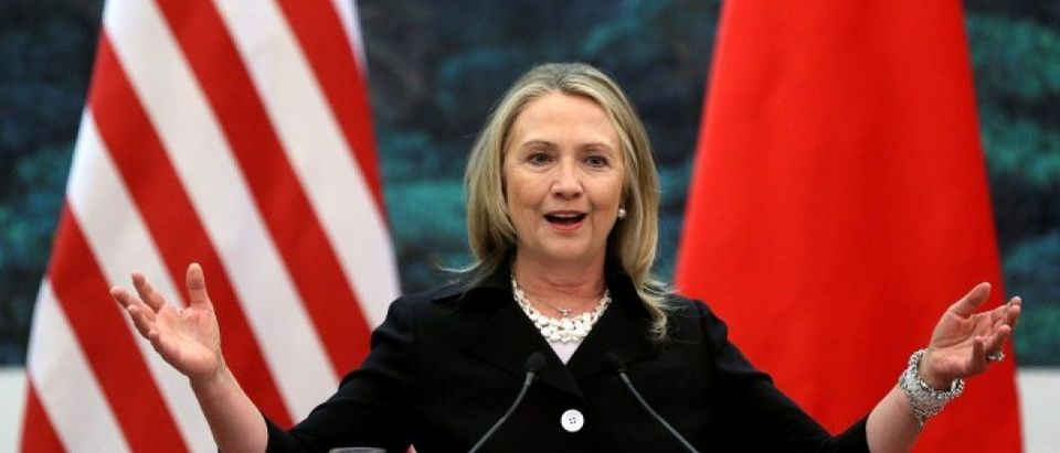 U.S. Secretary of State Clinton attends a news conference in Beijing