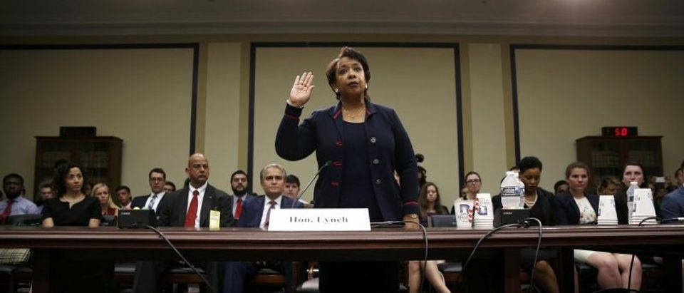 U.S. Attorney General Lynch is sworn in prior to testifying before House Judiciary Committee hearing on Capitol Hill in Washington