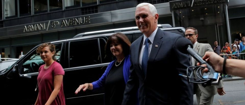 Indiana Governor Mike Pence arrives at Trump Tower in Manhattan