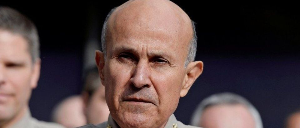 Los Angeles County Sheriff Lee Baca announces his retirement during a news conference at Los Angeles County Sheriff's headquarters in Monterey Park