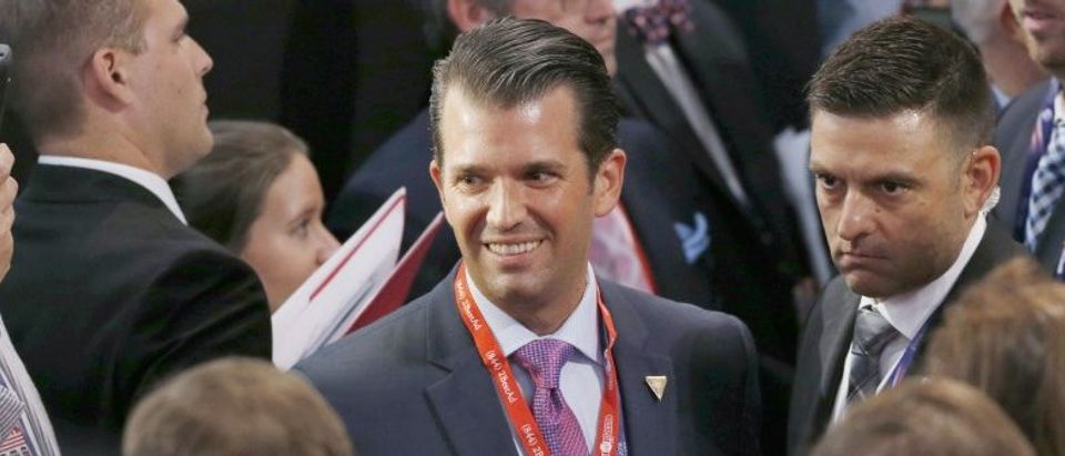 Donald Trump Jr. smiles after his father Donald Trump officially became the Republican Nominee for President of the United States at the Republican National Convention in Cleveland