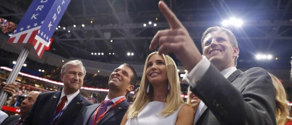 Members of Republican U.S. presidential candidate Donald Trump's family stand with the New York delegation during the nominating process at the Republican National Convention in Cleveland, Ohio