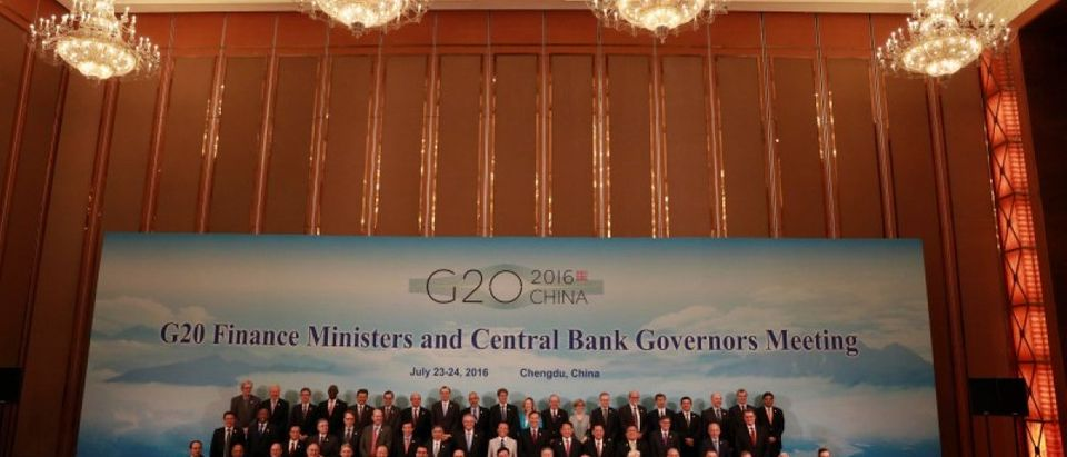 G20 Finance Ministers and Central Bank Governors pose for a group photo during a conference held in Chengdu in Southwestern China's Sichuan province