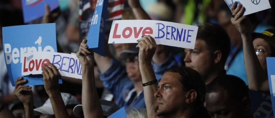 Supporters of former Democratic U.S. presidential candidate Bernie Sanders wave signs during his speech at the Democratic National Convention in Philadelphia