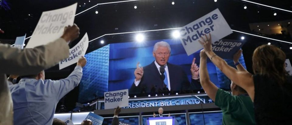 Former U.S. President Bill Clinton speaks during the second night at the Democratic National Convention in Philadelphia