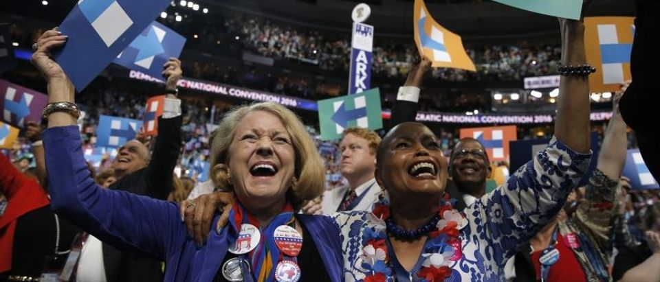 Delegates celebrate after Democratic presidential candidate Clinton won the nomination at the Democratic National Convention in Philadelphia
