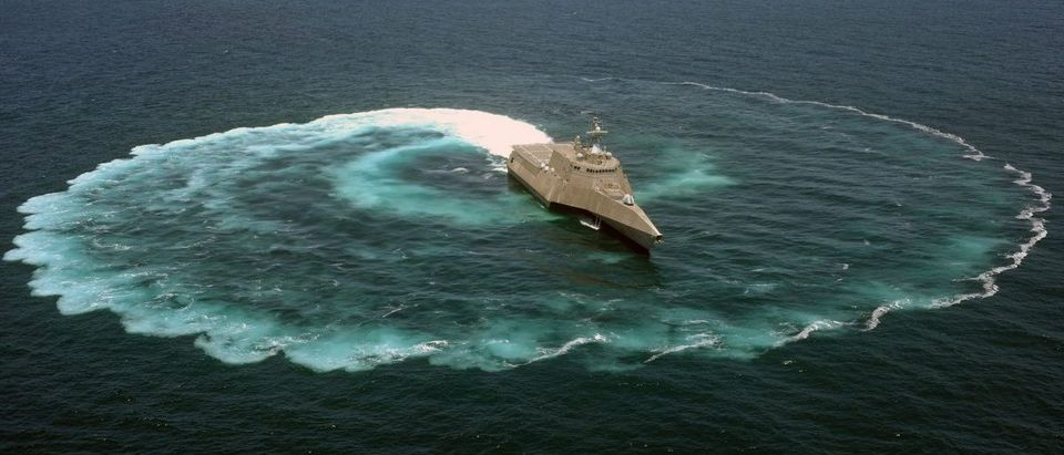 The littoral combat ship USS Independence (LCS 2) demonstrates its maneuvering capabilities in the Pacific Ocean off the coast of San Diego. (U.S. Navy photo by Mass Communication Specialist 2nd Class Daniel M. Young/Released) 1