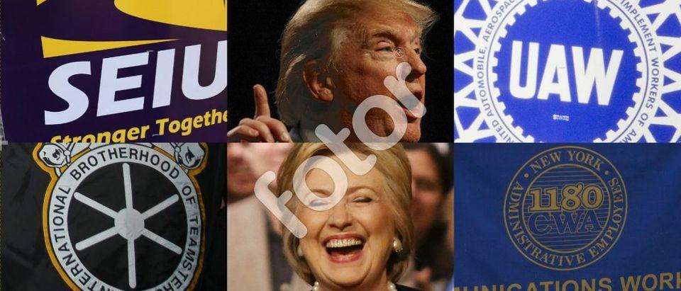 SEIU: a katz / Shutterstock.com, Teamsters: a katz / Shutterstock.com, UAW: Glynnis Jones / Shutterstock.com, CWA: lev radin / Shutterstock.com, Hillary Clinton: Krista Kennell/Shutterstock, Donald Trump: Joseph Sohm / Shutterstock.com
