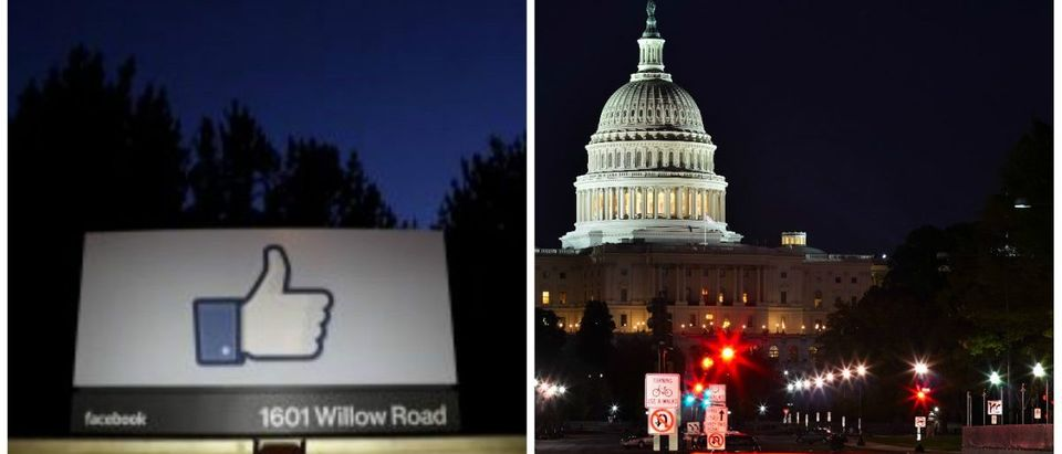 Facebook HQ sign, Reuters/Beck Diefenbach/File Photo. Pennsylvania Avenue, Shutterstock/Orhan Cam.