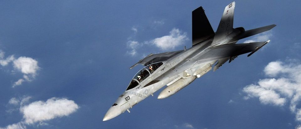 A US Navy FA-18 Super Hornet is seen fro