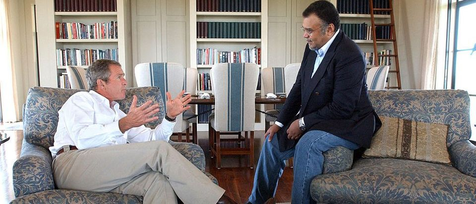 President George W. Bush meets with Prince Bandar bin Sultan, the Saudi Arabian ambassador, August 27, 2002 at Bush's Ranch in Crawford, Texas.