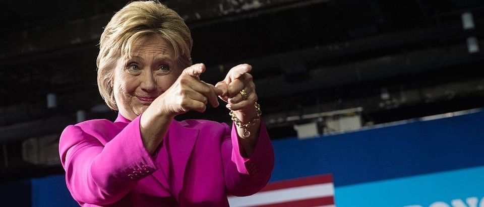 Hillary Clinton arrives at a campaign event in Charlotte, North Carolina (Getty Images)