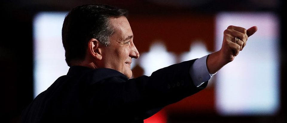 Ted Cruz (R-TX) gestures as he walks on stage to deliver a speech on the third day of the Republican National Convention (Getty Images)