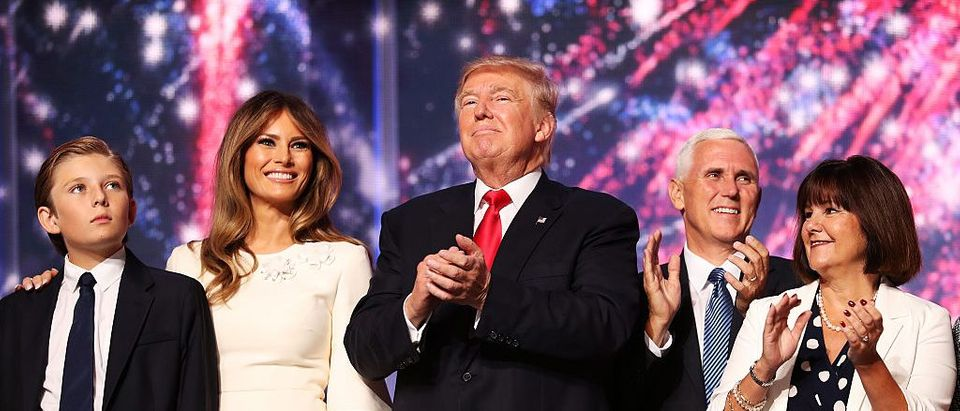 Donald Trump stands with his family on the final day of the Republican National Convention (Getty Images)