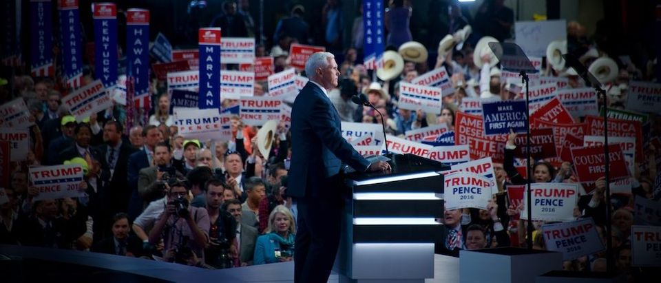 Gov. Mike Pence accepting VP Nomination, Photo credit Grae Stafford