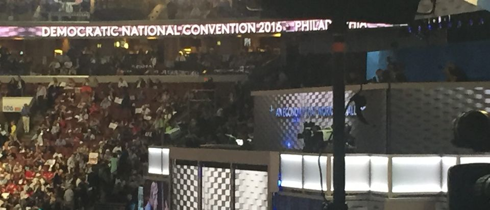 DNC stage (photo by Daily Caller)