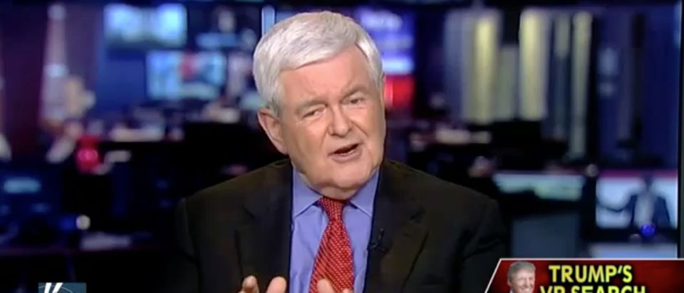 Newt Gingrich, Screen Grab FNC, 7-14-2016