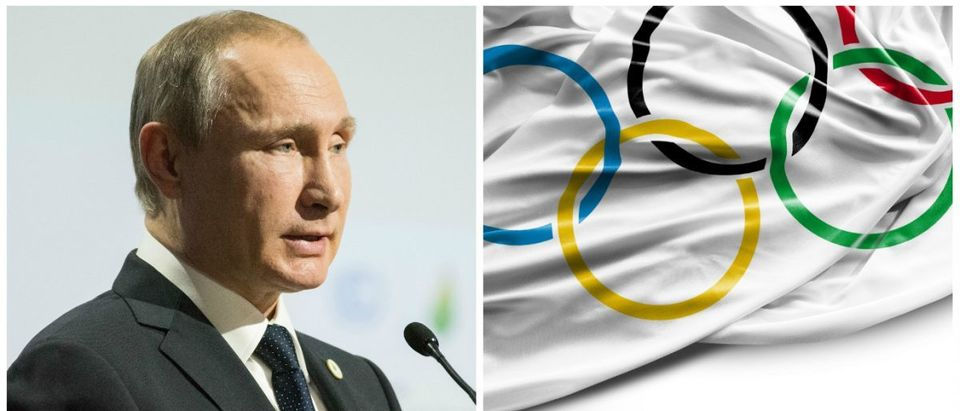 Olympic Flag Filipe Frazao Shutterstock.com, Vladimir Putin Frederic Legrand - COMEO Shutterstock.com