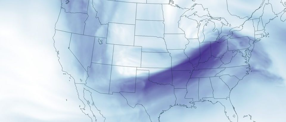 NOAA handout map shows the dipping jet stream across the United States