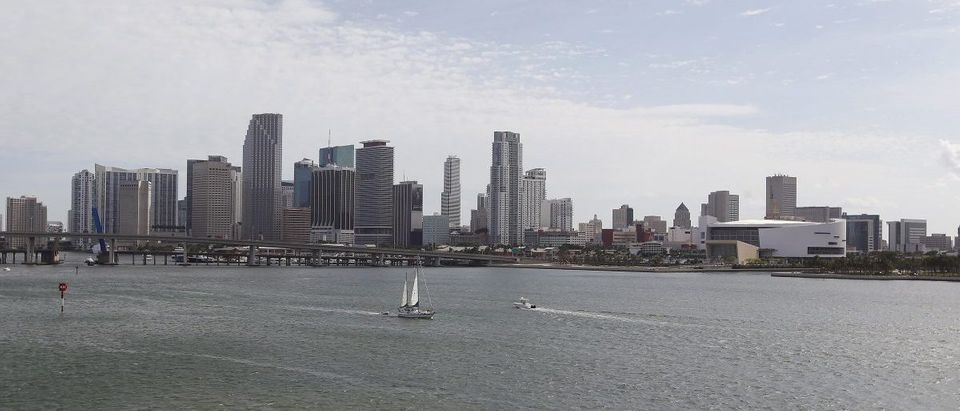A portion of the City of Miami's skyline, along with the American Airlines Arena home of the NBA's Miami Heat, is seen near the Port of Miami in Miami Florida