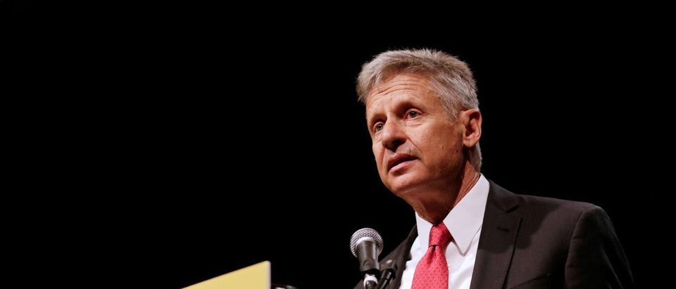 Libertarian Party presidential candidate Gary Johnson gives acceptance speech during National Convention held at the Rosen Centre in Orlando, Florida, May 29, 2016. REUTERS/Kevin Kolczynski