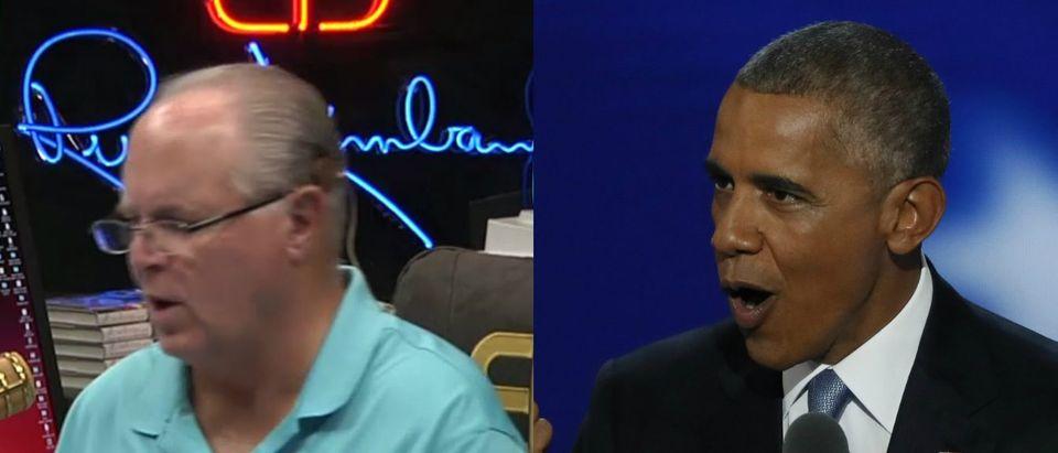 Rush Limbaugh, Barack Obama, Screen Grab Rush Limbaugh Show, Reuters