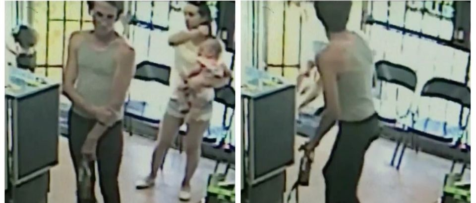 24-year-old Terry Ransom snatched a young girl out of her mother's grasp at a cellphone store in Victorville (screenshot: KHOU)