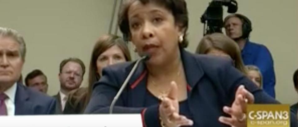 Attorney General Loretta Lynch testifies to Congress, July 12, 2016. Youtube screen grab.