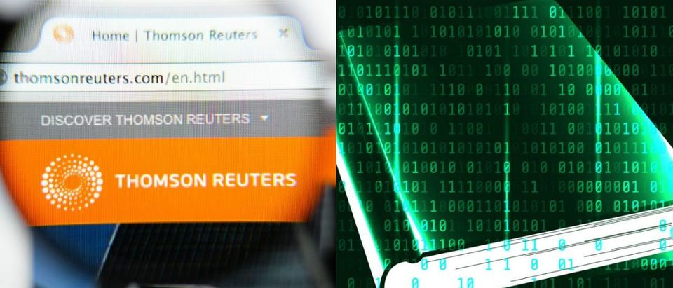Thomson Reuters Website Toolbar, Shutterstock/Gil C. Binary Code Picture with Book, Shutterstock/Apostle.