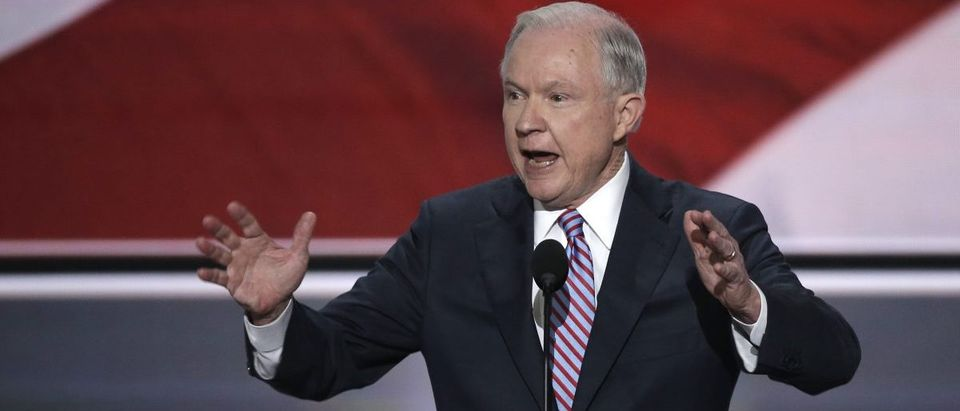 Senator Jeff Sessions speaks at the Republican National Convention in Cleveland, Ohio, U.S. July 18, 2016. (REUTERS/Mike Segar)