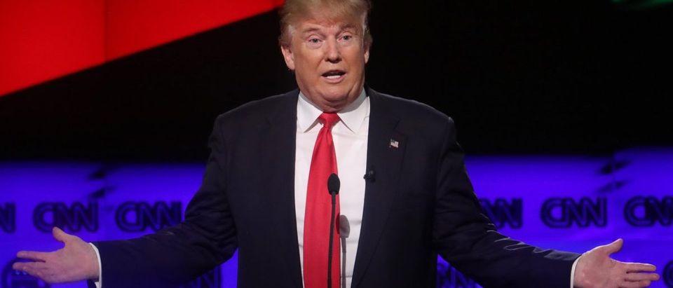Republican U.S. presidential candidate Donald Trump speaks at the candidates debate in Miami, Florida