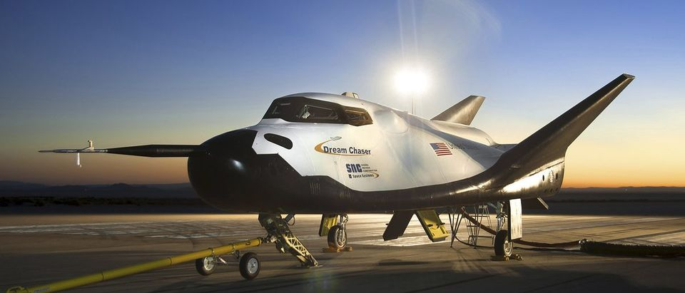 NASA handout shows the Sierra Nevada Corporation Dream Chaser flight vehicle being readied for 60 mph tow tests at NASA's Dryden Flight Research Center in Edwards