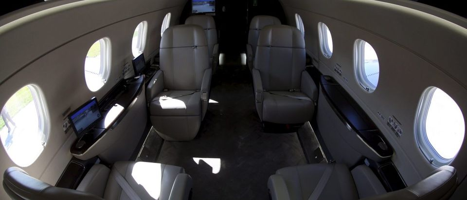 The cabin of an Embraer Legacy 450 jet is seen in Sao Paulo