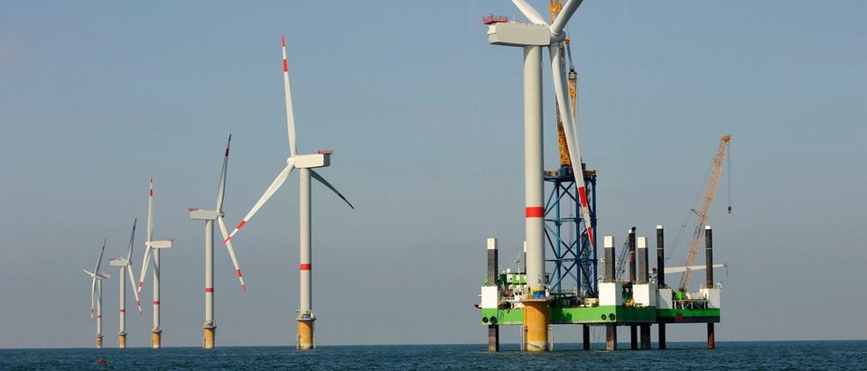 Here is a photo of an offshore wind farm. (Shutterstock/v.schlichting)