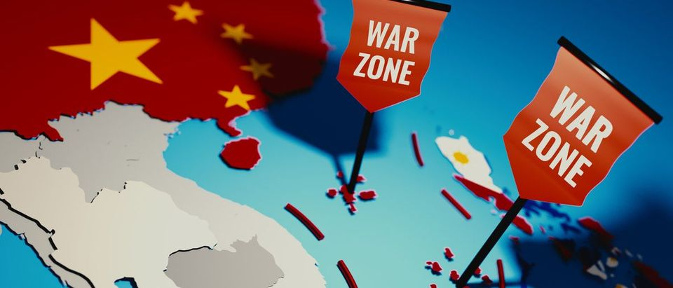 South China Sea conflict between China and Philippines over Spratly Islands and Paracel islands - 3D illustration. (Shutterstock/Lenka Horavova)