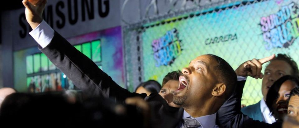 "Actor Will Smith takes a selfie as he attends the world premiere of ""Suicide Squad"" in Manhattan, New York, U.S."