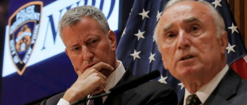 New York City Police Commissioner Bill Bratton speaks during a news conference with New York City Mayor Bill de Blasio in New York