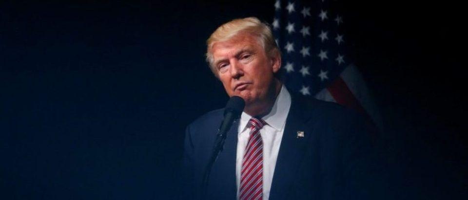 Republican U.S. Presidential nominee Donald Trump attends a campaign event at Briar Woods High School in Ashburn