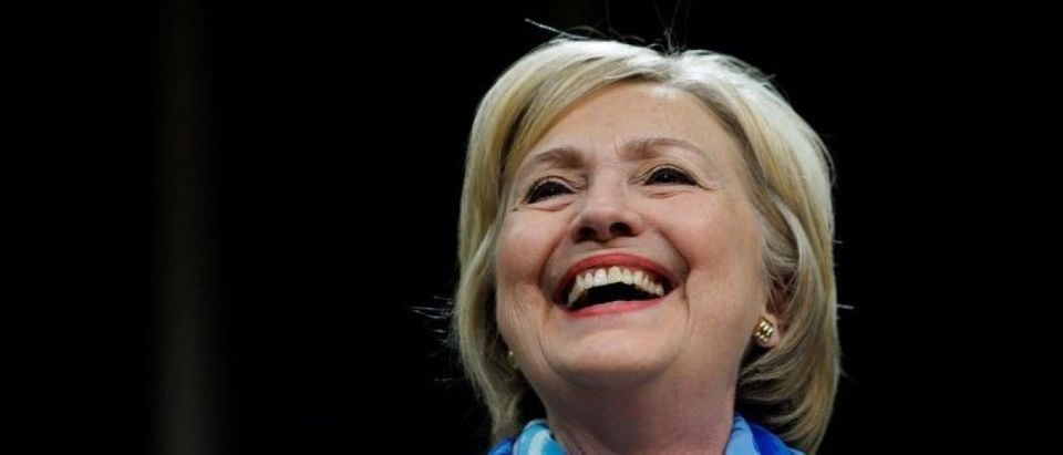 Democratic presidential nominee Hillary Clinton smiles in Commerce City